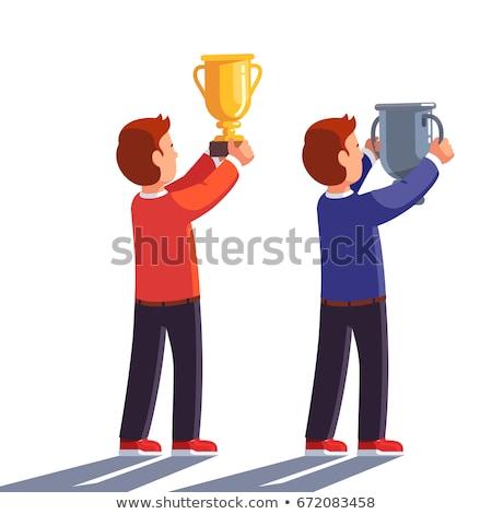 Boldog büszke nyertes férfi nagy trófea Stock fotó © lunamarina