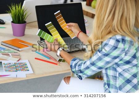 kadın · boya · renk · kâğıt · gökkuşağı - stok fotoğraf © photography33