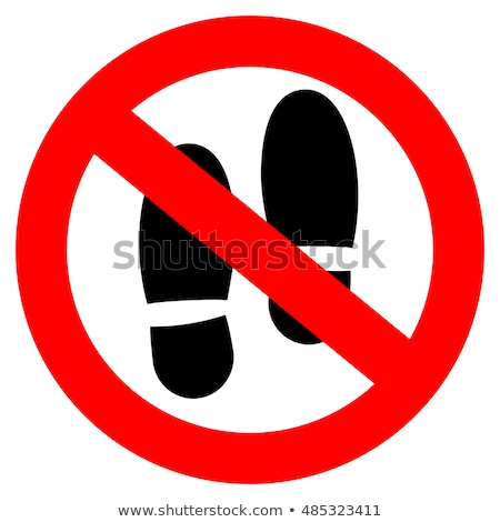 Sign forbidden do not step. Prohibited symbol with boot imprint. Stock photo © Hermione