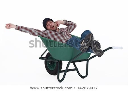 Adam el arabası inşaat yaz işçi genç Stok fotoğraf © photography33