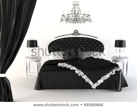 Modern bedroom and royal furniture. chandelier. Opened curtain Stock photo © Victoria_Andreas
