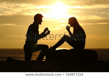 homem · mão · praia · fundo · mulher · céu - foto stock © Kotenko