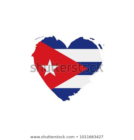 Obraz serca banderą Kuba kraju Zdjęcia stock © perysty