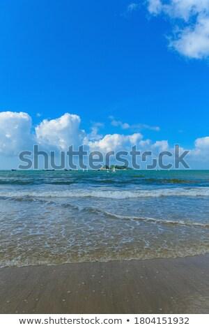 voetafdrukken · strand · zandstrand · vrouw · man · zon - stockfoto © moses