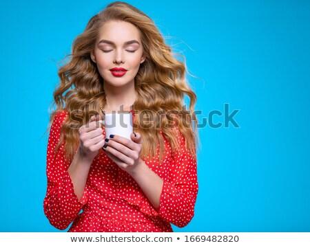 Sevimli genç bayan fincan kahve portre Stok fotoğraf © stokkete