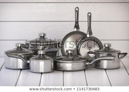 Ze stali nierdzewnej piekarnik dwa posiedzenia kuchnia stali Zdjęcia stock © ca2hill