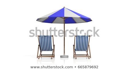 Ligstoel witte houten zee ontwerp zomer Stockfoto © tashatuvango