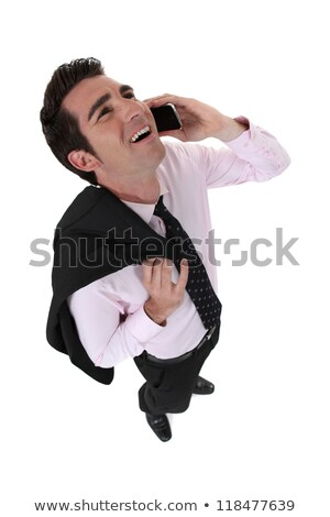 Zakenman lachend uit luid oproep hand Stockfoto © photography33