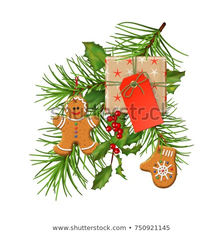 blank gift tag and holly berry and gingerbread man stock photo © adamson