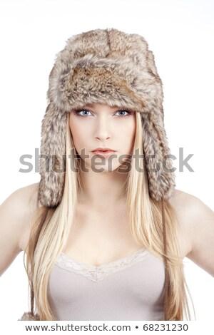 Beautiful Blonde In A Winter Fur Hat Stock fotó © courtyardpix