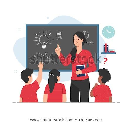 Matematik sınıf Öğrenciler çocuklar dizayn öğrenci Stok fotoğraf © mintymilk