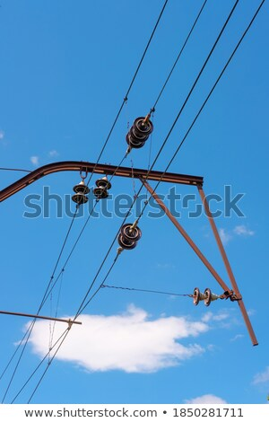 Railroad wire pole against  blue sky Stock photo © Zhukow