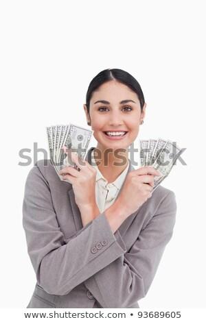 sorridente · jovem · empresária · banco · notas · mãos - foto stock © wavebreak_media