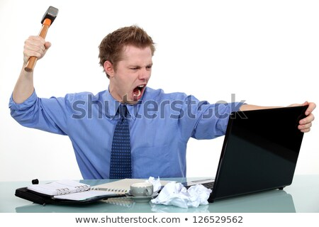 Executive about to smash his laptop with a hammer. Stock photo © photography33