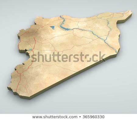 Síria mapa oriente médio país terra Árabe Foto stock © Lightsource