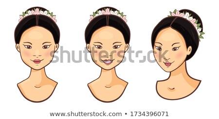 Fél mosolygós arc tele smink arc szépség Stock fotó © wavebreak_media