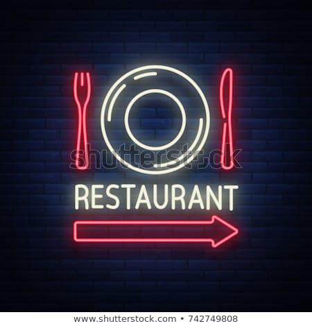 Neon restaurant Rood groene bruin Stockfoto © pab_map