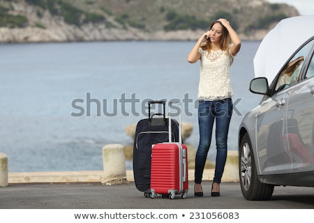 Stock photo: Car breakdown - woman phone calling auto service