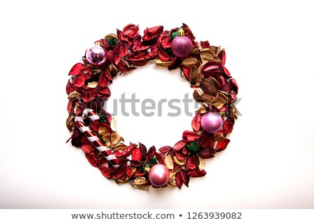 red bow with pine border and circular decoration stock photo © lightsource