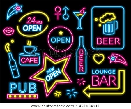 Salon neon reklam gece kulübü imzalamak ışık Stok fotoğraf © Snapshot