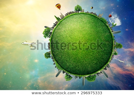 Stock photo: Green Earth, covered with grass