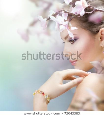 nazik · kadın · orkide · çiçek · portre - stok fotoğraf © anna_om