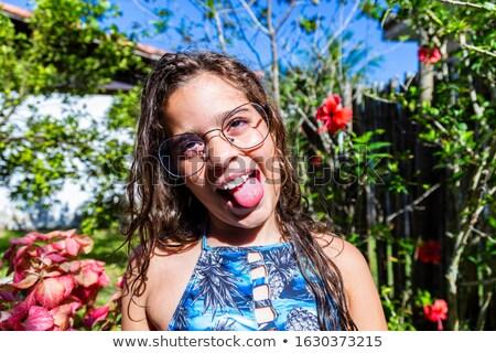 stupido · bambino · fuori · lingua · occhi · bellezza - foto d'archivio © photography33