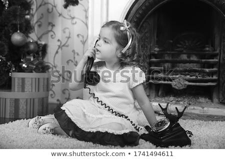 ストックフォト: 女の子 · ヴィンテージ · 電話 · かわいい · 小さな · 女の子