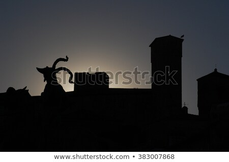 Statue of Pizarro backlight Stock photo © ABBPhoto