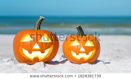 tropical · halloween · ananás · lanterna · praia · sorridente - foto stock © KonArt