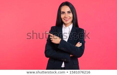 женщину · сложенный · оружия · указывая · пальца · улыбаясь - Сток-фото © fantasticrabbit