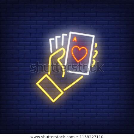 Hand Holding Ace Of Hearts Card Сток-фото © Taigi