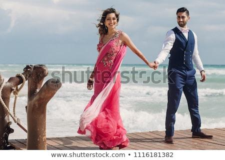 Wiatr dość pani suknia ślubna pokład dziewczyna Zdjęcia stock © Fisher
