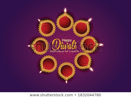 beautiful diwali diya card colorful rangoli vector background stock photo © bharat
