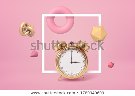 time to work   clock with shiny metal frame stock photo © iqoncept