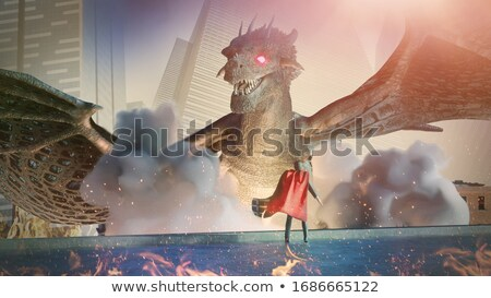 Сток-фото: Knight · дракон · битва · Cartoon