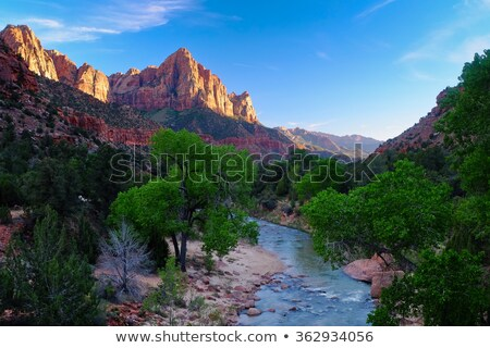 tower of virgin zion canyon national park utah stock photo © billperry