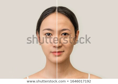 Face of beautiful Asian woman before and after retouch Stock photo © elwynn