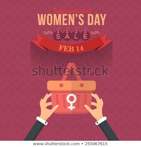 Feliz día de la mujer presentación tarjeta de felicitación papel nina Foto stock © bharat
