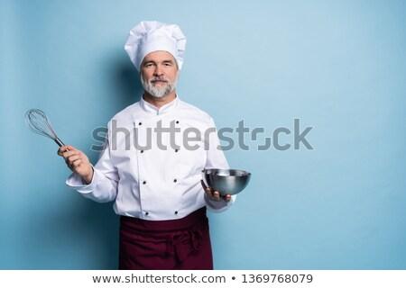 Szakács tart habaró közelkép oldal szemben Stock fotó © jackethead