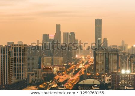 Kilátás Bangkok sziluett mutat naplemente égbolt Stock fotó © meinzahn