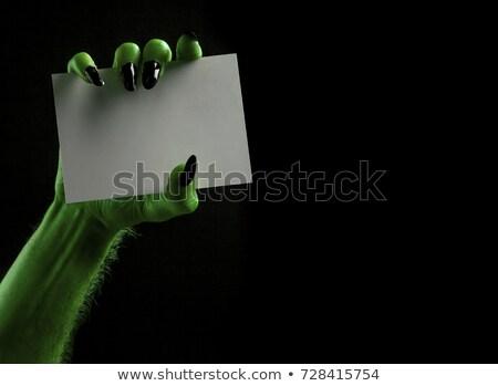 Zombie lege kaart hand teken zijaanzicht Stockfoto © Lightsource