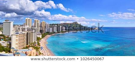 Panoráma Waikiki Honolulu Hawaii sziluett park Stock fotó © backyardproductions