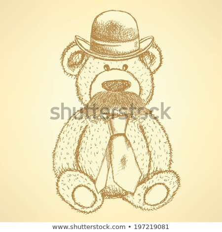 sketch teddy bear in hat and tie with mustache vector backgroun stock photo © kali