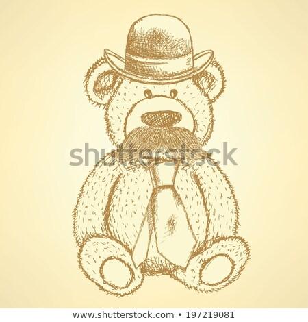 эскиз мишка Hat галстук усы вектора Сток-фото © kali