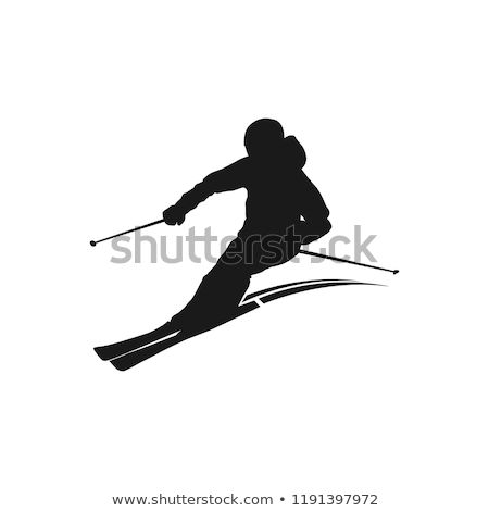 Ski silhouettes homme sport ski cool Photo stock © Slobelix
