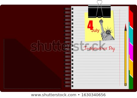 Brown Notebook open on white background with clipped yellow none Stock photo © leonido