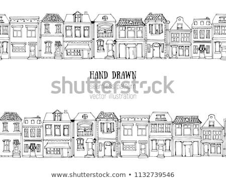 vintage · casas · Cartoon · vector · cuento · de · hadas - foto stock © zsooofija