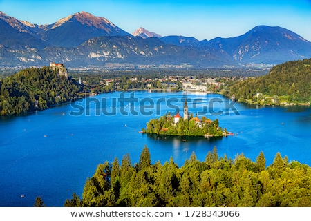 старые замок озеро Словения небе здании Сток-фото © Nobilior