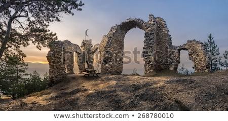 城 · 美しい · パノラマ · 遺跡 · 草 · 道路 - ストックフォト © kayco
